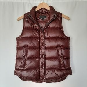 J. Crew Quilted Insulated Down Wine Puffer Vest